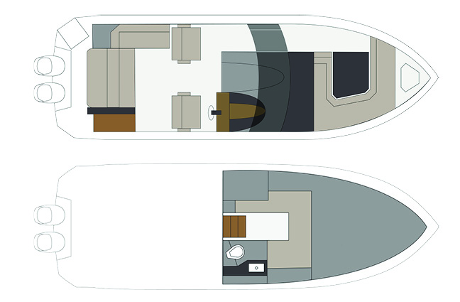 Exterior of a Cruiser Yachts 330 Outboard