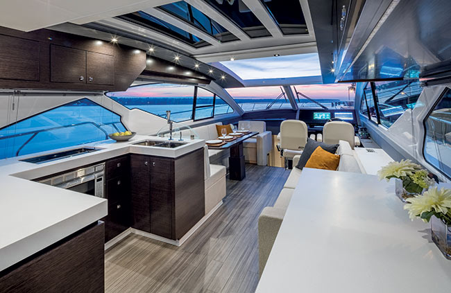Interior of a Cruiser Yachts 60 Cantius